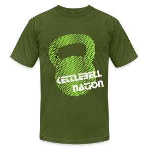 Kettlebell Green Halftone T-Shirts - Men's T-Shirt by American Apparel