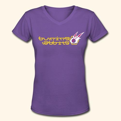 Burning Rabbits (free shirtcolor selection) - Women's V-Neck T-Shirt