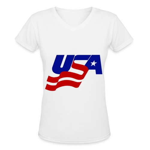 Ladies USA V - Women's V-Neck T-Shirt