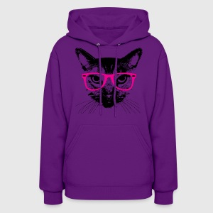 Hipster Cat with Pink Glasses Hoodies - Women's Hoodie