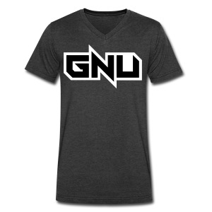 light grey GNU - vneck - Men's V-Neck T-Shirt by Canvas