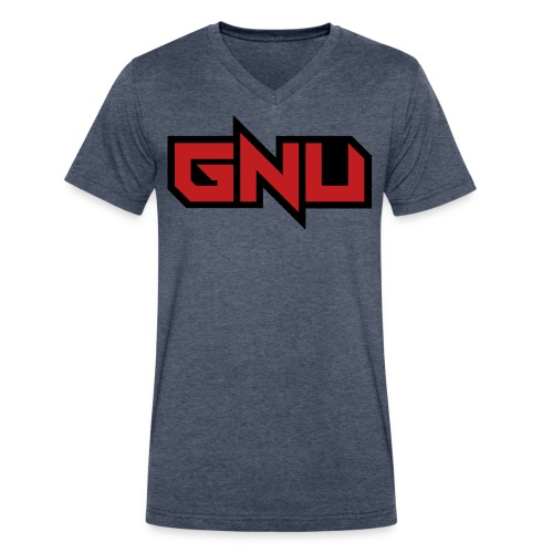 GNU grey red and black - Men's V-Neck T-Shirt by Canvas