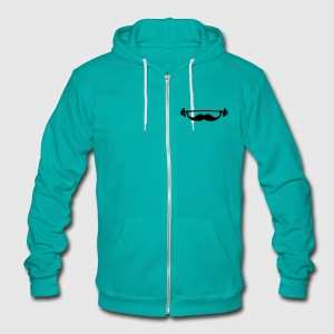 Funny Fitness Mustache / Beard Zip Hoodies & Jackets - Unisex Fleece Zip Hoodie by American Apparel
