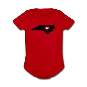NC State Wolfpack Love - Black/Red - Short Sleeve Baby Bodysuit