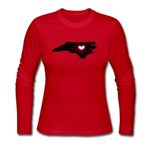 NC State Wolfpack Love - Black/Red - Women's Long Sleeve Jersey T-Shirt