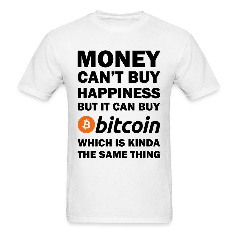 Bitcoin Happy White T Shirt - Men's T-Shirt
