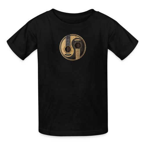 Old and Worn Acoustic Guitars Yin Yang - Kids' T-Shirt