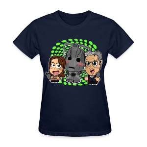 Chibi Doctor Who Shirt - 12th Doctor and Cyberman (Female) - Women's T-Shirt