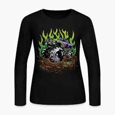 Mud Truck Green Flame Long Sleeve Shirts