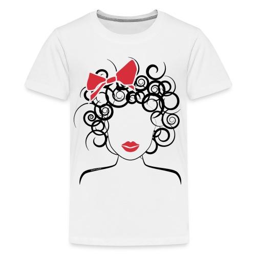 Curly girl (red bow) kids - Kids' Premium T-Shirt