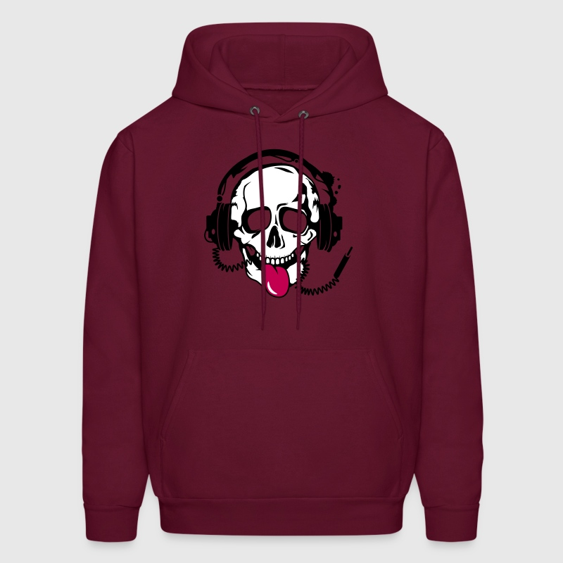 A skull stretched tongue out with headphones  Hoodies - Men's Hoodie