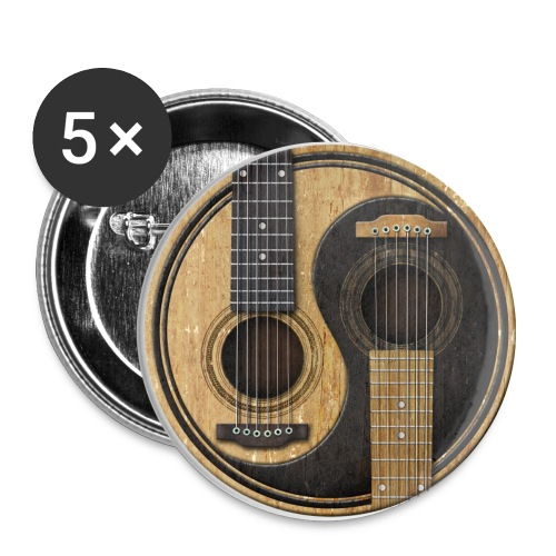 Old and Worn Acoustic Guitars Yin Yang - Large Buttons
