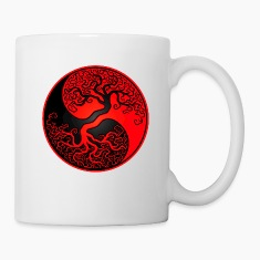 Red and Black Tree of Life Yin Yang Bottles & Mugs