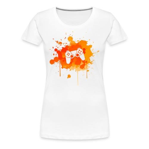 Immersive Minds Ladies Premium T-Shirt - Orange Splat - White Controller - Women's Premium T-Shirt