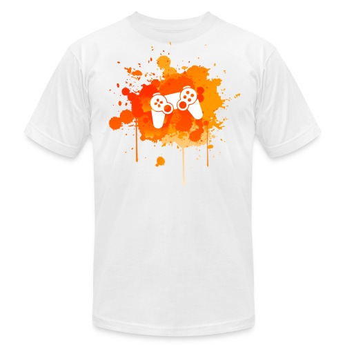 Immersive Minds Men's Premium T-Shirt - Orange Splat - White Controller - Men's Fine Jersey T-Shirt
