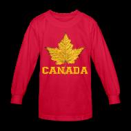 Kids' Shirts ~ Kids' Long Sleeve T-Shirt ~ Kid's Canada Shirt Sporty Canada Varsity Shirts