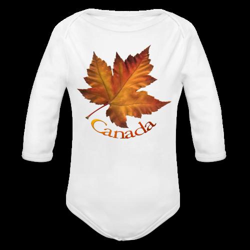 Canada Souvenir Baby Creeper Canada Maple Leaf Baby One-piece - Long Sleeve Baby Bodysuit