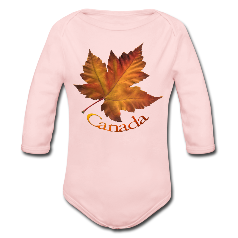 Canada Souvenir Baby Creeper Canada Maple Leaf Baby One-piece - Long Sleeve Baby Bodysuit