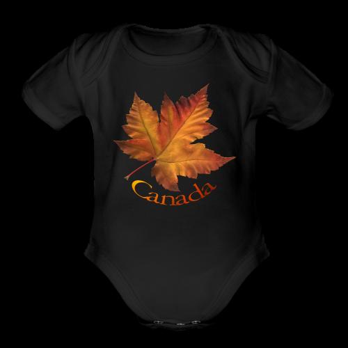 Canada Souvenir Baby Creeper Canada Maple Leaf Baby One-piece - Organic Short Sleeve Baby Bodysuit