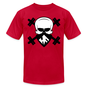 Hardcore Fitness Skull With Barbells - Men's T-Shirt by American Apparel