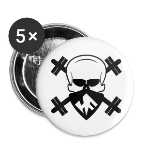 Hardcore Fitness Skull With Barbells - Large Buttons