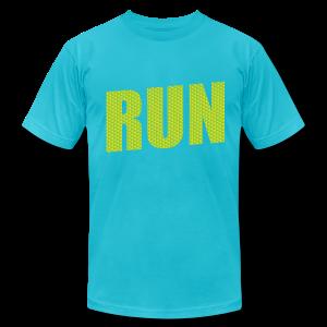 Run with Hardcore Fitness Logo on the Sleeve - Men's Fine Jersey T-Shirt