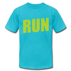 Run with Hardcore Fitness Logo on the Sleeve - Men's T-Shirt by American Apparel