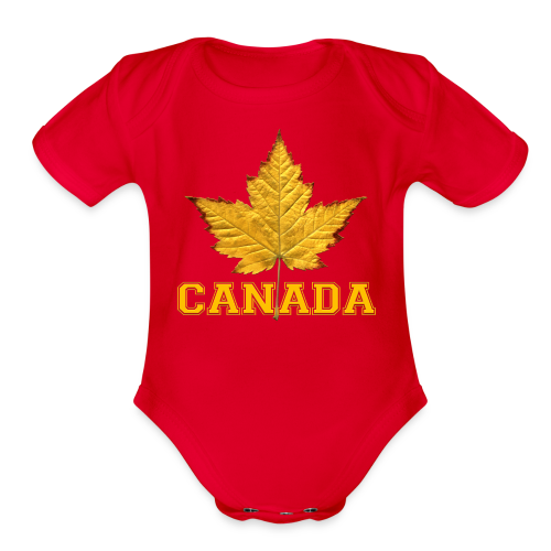 Toddler Canada One Piece Canada Maple Leaf Baby Gift - Organic Short Sleeve Baby Bodysuit