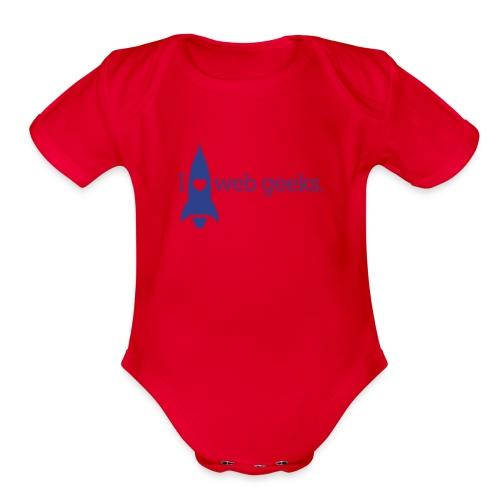 I Heart Web Geeks Baby Short Sleeve One Piece - Organic Short Sleeve Baby Bodysuit