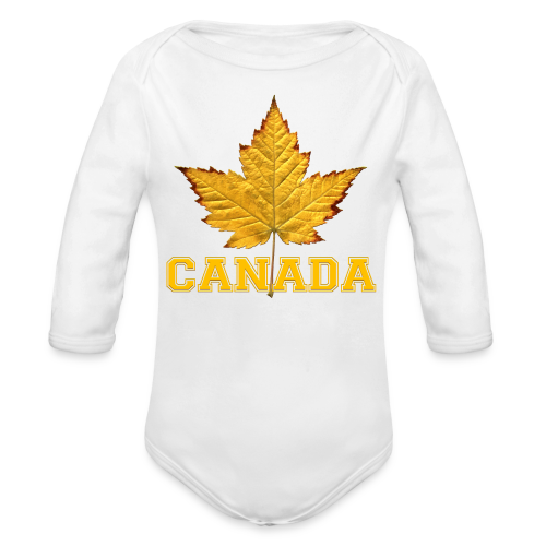 Toddler Canada Creeper Canada Maple Leaf Baby Gift - Organic Long Sleeve Baby Bodysuit