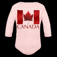 Baby Bodysuits ~ Baby Long Sleeve One Piece ~ Canada Flag Souvenir Baby Creeper Canadian Souvenir Baby Romper