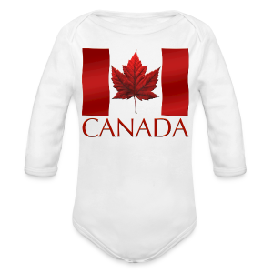 Canada Flag Souvenir Baby Creeper Canadian Souvenir Baby Romper - Long Sleeve Baby Bodysuit
