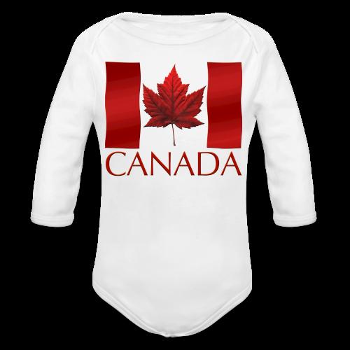 Canada Flag Souvenir Baby Creeper Canadian Souvenir Baby Romper - Organic Long Sleeve Baby Bodysuit