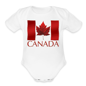 Canada Flag Souvenir Baby Creeper Canadian Souvenir Baby Romper - Short Sleeve Baby Bodysuit