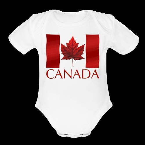 Canada Flag Souvenir Baby Creeper Canadian Souvenir Baby Romper - Organic Short Sleeve Baby Bodysuit