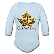 Baby Bodysuits ~ Baby Long Sleeve One Piece ~ Baby Canada Romper Baby Toddler Gold Canada Souvenir One-Piece