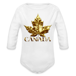 Baby Canada Romper Baby Toddler Gold Canada Souvenir One-Piece - Long Sleeve Baby Bodysuit