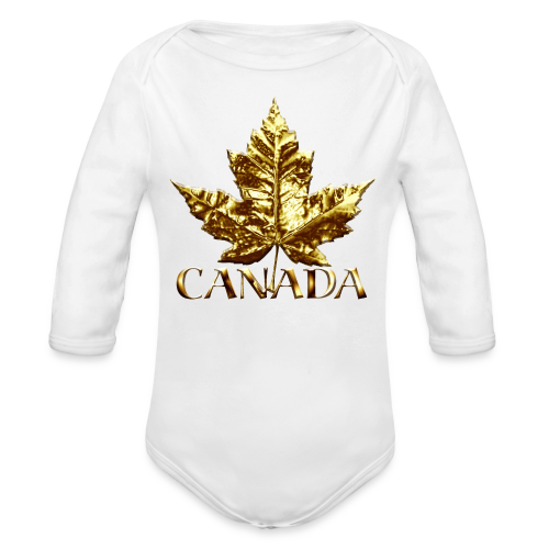 Baby Canada Romper Baby Toddler Gold Canada Souvenir One-Piece - Organic Long Sleeve Baby Bodysuit
