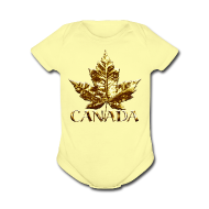 Baby Bodysuits ~ Baby Short Sleeve One Piece ~ Baby Canada Romper Baby Toddler Gold Canada Souvenir One-Piece