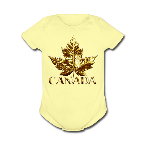 Baby Canada Romper Baby Toddler Gold Canada Souvenir One-Piece - Organic Short Sleeve Baby Bodysuit