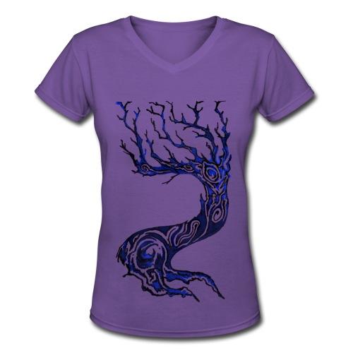 Tree V-Neck - Women's V-Neck T-Shirt