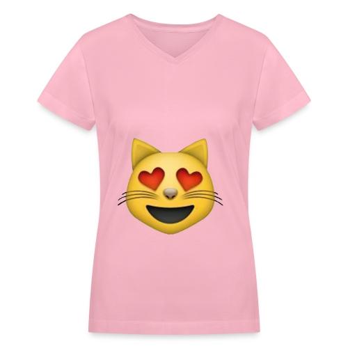 Kitten Emoji Womens V-Neck - Women's V-Neck T-Shirt