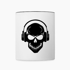 Skull with Headphones - Rave - Electro - Hardstyle Bottles & Mugs