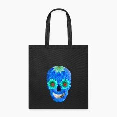 Blue Day Of The Dead Skull Tote Bag