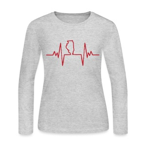 An Illinois Heartbeat - Women's Long Sleeve Jersey T-Shirt