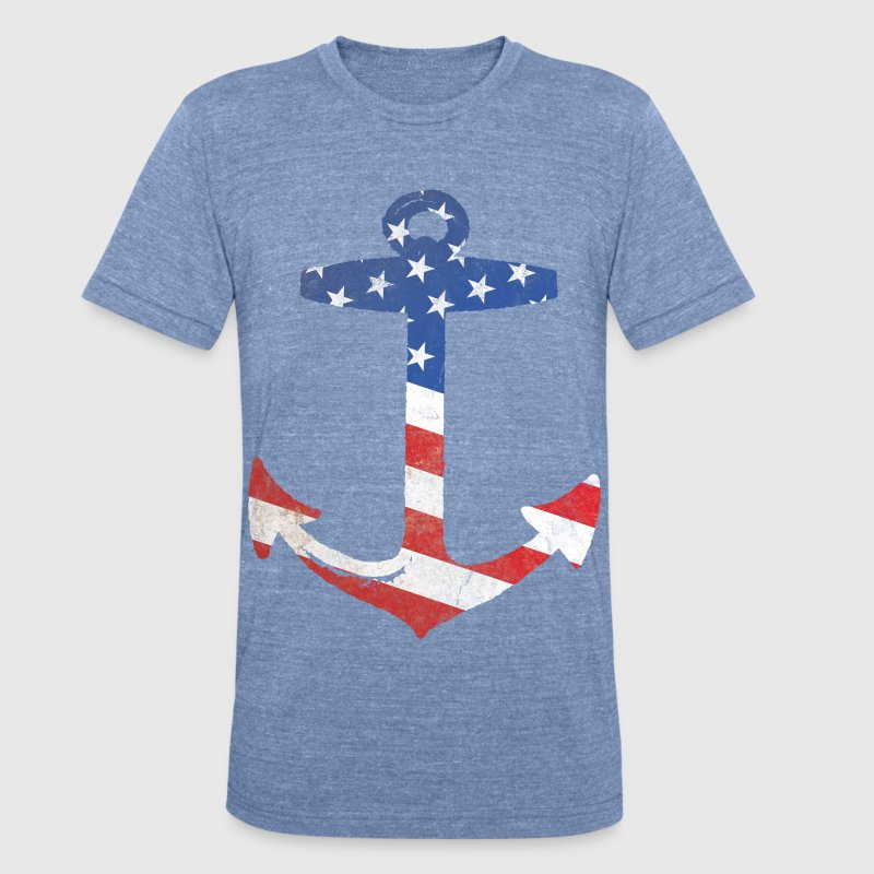 American Flag Anchor T-Shirts - Unisex Tri-Blend T-Shirt by American Apparel