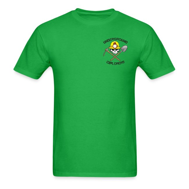 Underground Explorers Bright Green Logo Tee (black text)