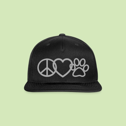 GIVE BACK- Peace Love Paws GLITTER - Snap-back Baseball Cap