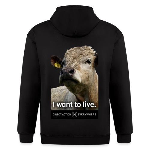 I Want To Live (Cow) Hoodie - Men's Zip Hoodie
