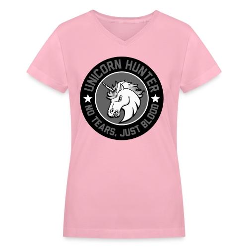 Women Unicorn Hunter - Women's V-Neck T-Shirt